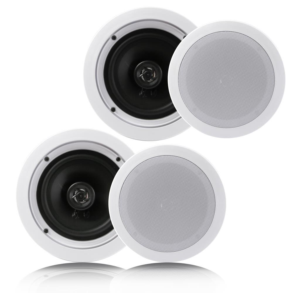 "Pyle Pair 6.5"" Flush Mount In-wall In-ceiling 2-Way Home Speaker System Spring Loaded Quick Connections Dual Polypropylene Cone Polymer Tweeter Stereo Sound 200 Watts (PDIC1661RD)"