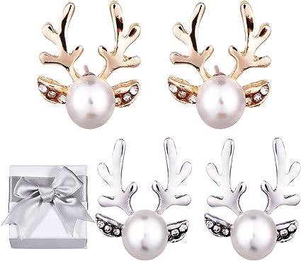 Christmas Gifts Girls Deer Head Stud Womens 18K Gold Plated Cute Shinning Antlers Deer Reindeer Pierced Stud Earrings