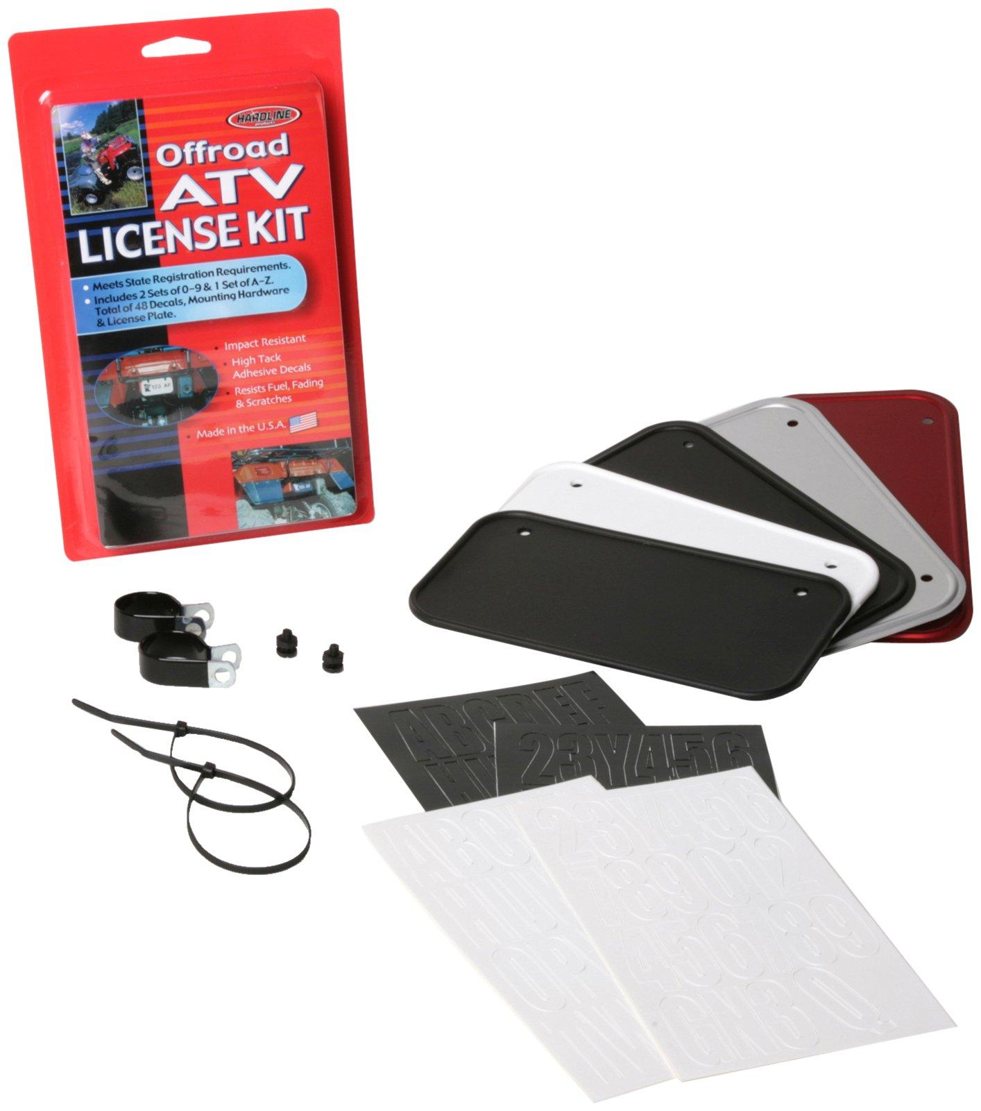 Hardline Products 2341B ATV License Plate Kit, Black Plastic