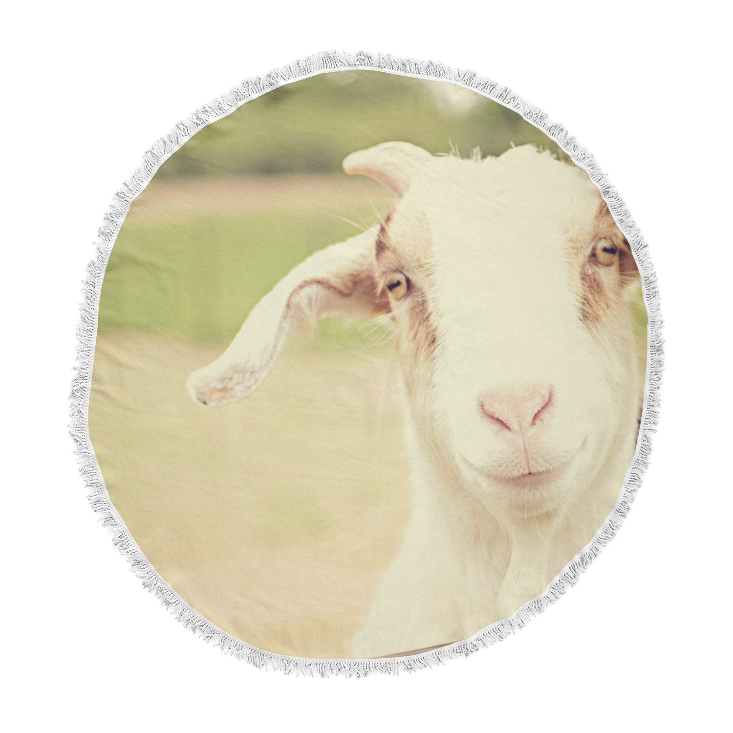 KESS InHouse Angie Turner Happy Goat Smiling Animal Round Beach Towel Blanket