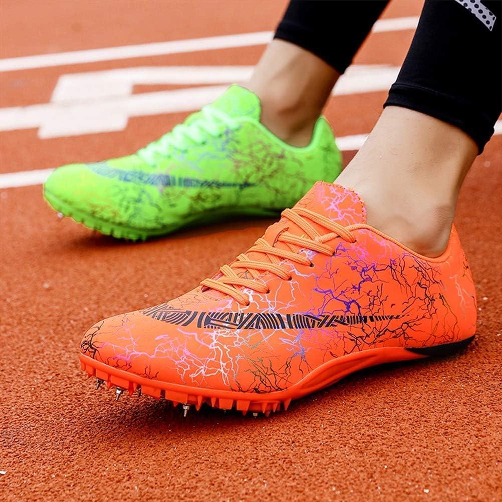 GLEYDY Zapatillas de Atletismo Unisex Zapatillas de Cricket de Alta Elasticidad Zapatillas de Clavos Profesionales de 8 Clavos Salto Largo Zapatillas de Entrenamiento,001,35EU