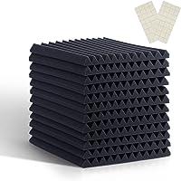 Paquete de 12 baldosas de espuma de 30,5 x 30,5 x 5 cm, paneles acústicos para paredes y techo, espuma de alta densidad…