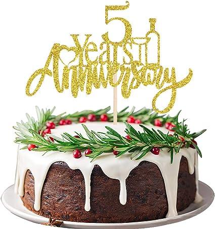 Anniversary Cake Topper 5 years Anniversary 5th Anniversary