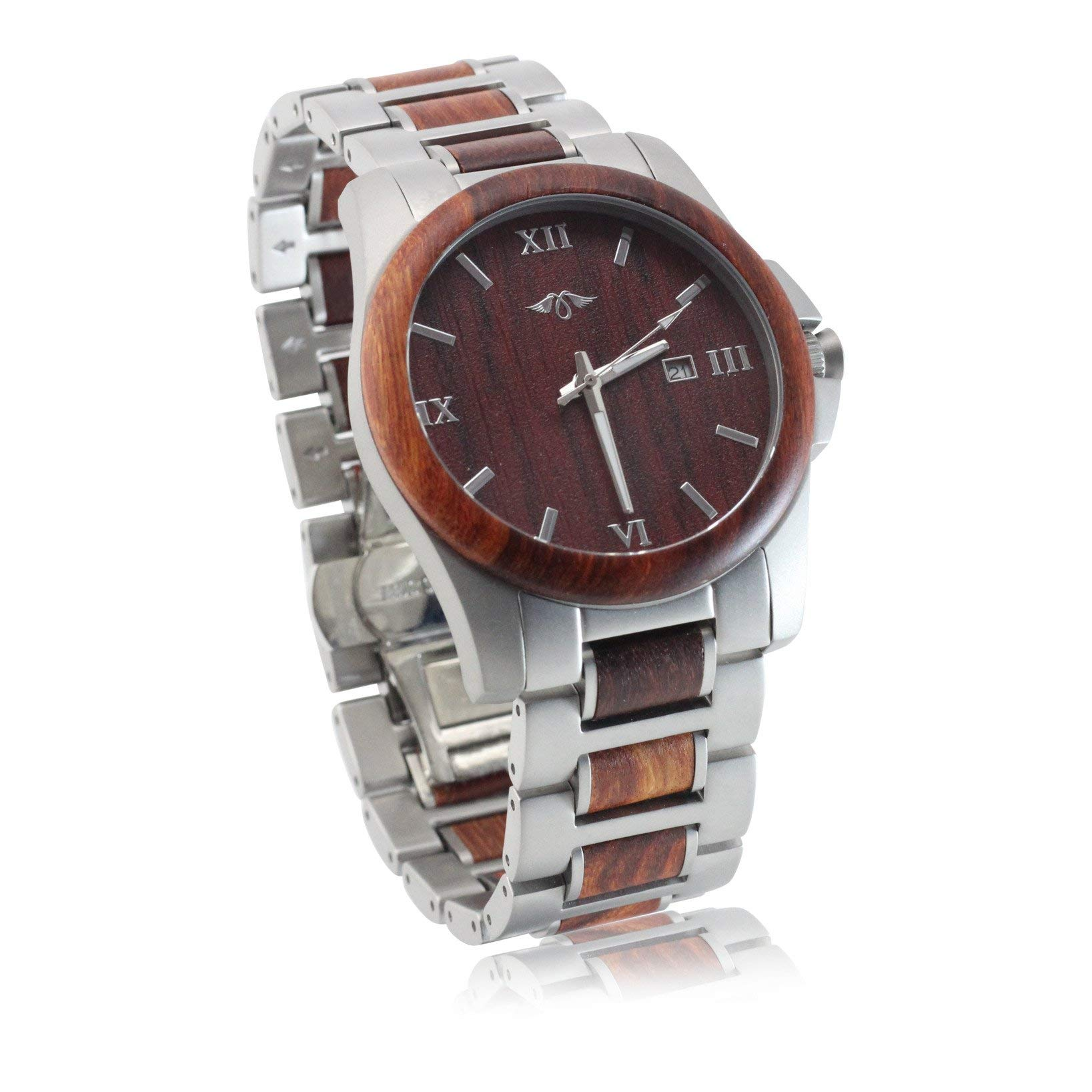 Angie Wood Creations Red Sandalwood and Stainless Steel Men's Watch with Matching Bracelet