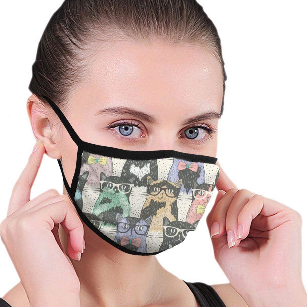 Hipster Cute Cats Wear Gafas de Sol Máscara bucal Unisex Mascarilla de algodón Antipolvo para Hombres y Mujeres