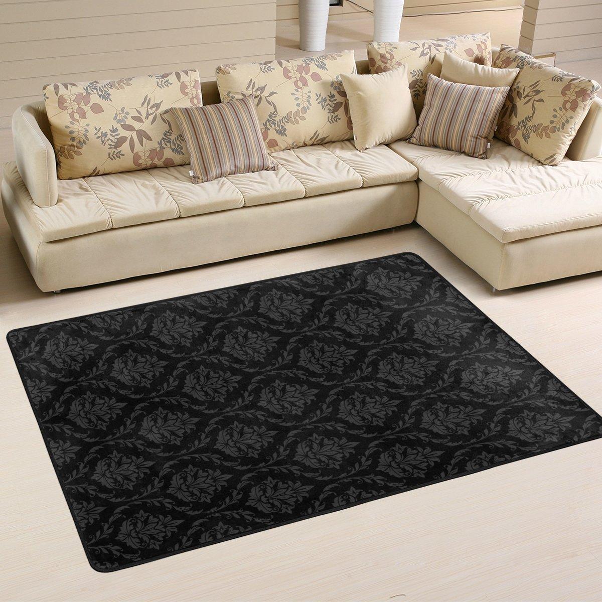 SAVSV 3' x 2' Area Rug Carpet Doormat Lightweight Printed Black Vintage Pattern Easy to Clean For Living Room Bedroom