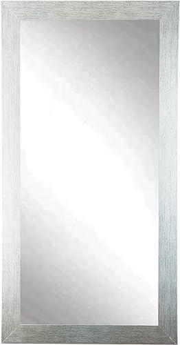 BrandtWorks Signature Silver Grain Finish Floor Mirror with 3 Frame – 32 x 71