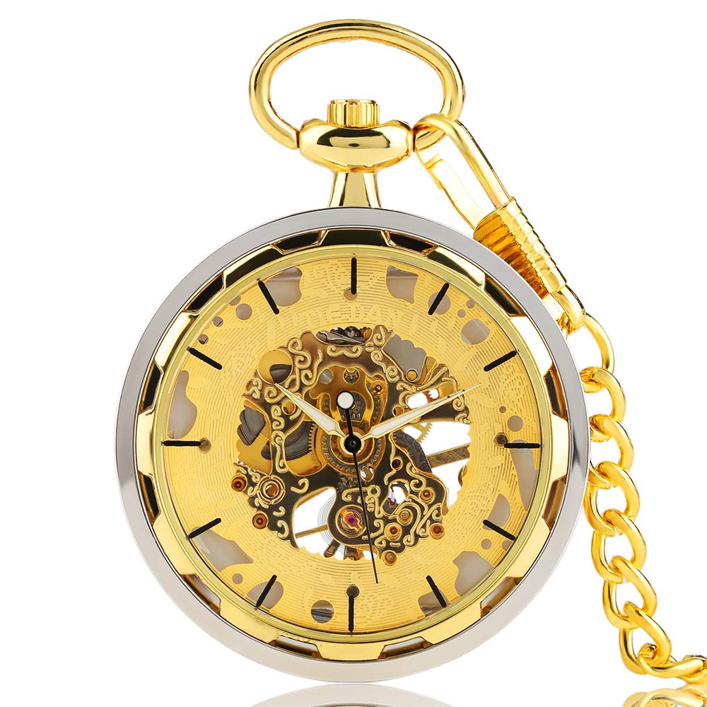 Luxury Pocket Watch Skeleton Steampunk Mechanical Hand Wind Pocket Watch, Best Gift for Men