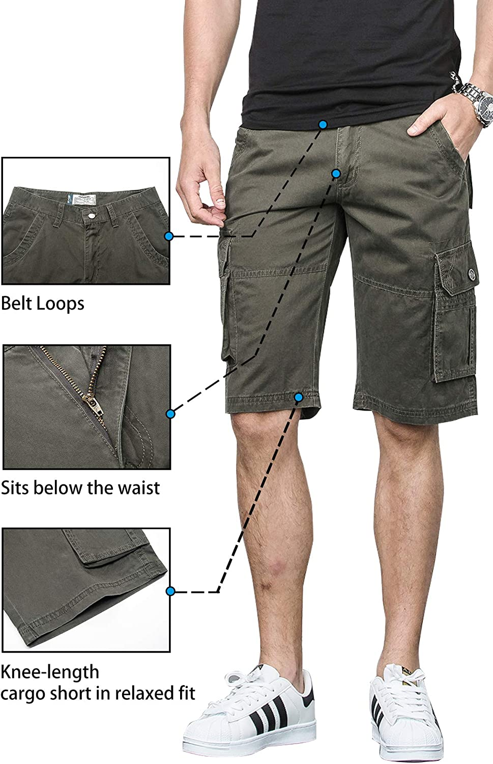 42, D3211-Army Green Cyparissus Cargo Shorts for Men