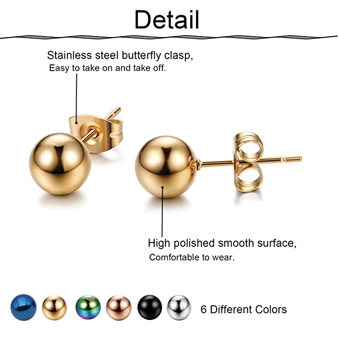 Amazoncom Funrun Jewelry 6 Pairs Stainless Steel Stud Earrings For