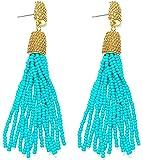 VK Accessories Bead Fringe Dangle Earrings Soriee Drop Earrings Beaded Tassel Ear Drop 3 Colors