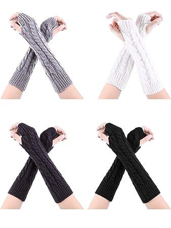 Bememo 4 Paar Winter Lange Fingerlose Handschuhe Gestrickte Armw/ärmer Ellenbogen L/änge Handschuhe Daumen Loch Handschuhe f/ür Damen M/ädchen