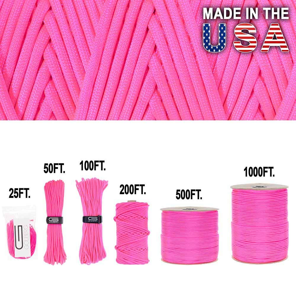 GOLBERG 750lb Paracord Parachute Cord – US Military Grade – Authentic Mil Spec Type IV 750 lb Tensile Strength Strong Paracord – Mil C 5040 H – 100% Nylon – Made in USA