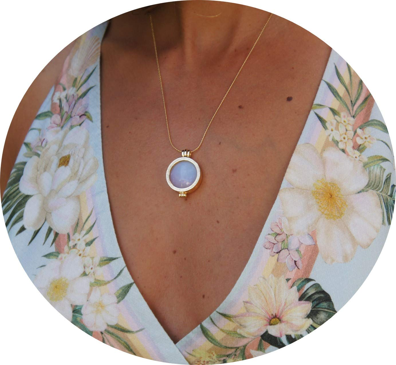 Women Necklace Locket 3 Natural Gemstones Set Green/White/Rose Pendant Jewelry 18''
