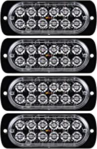 4X 36W 12-LED Amber Emergency Strobe Light Head IP65 Surface Mount Deck Dash Grille 12V-24V