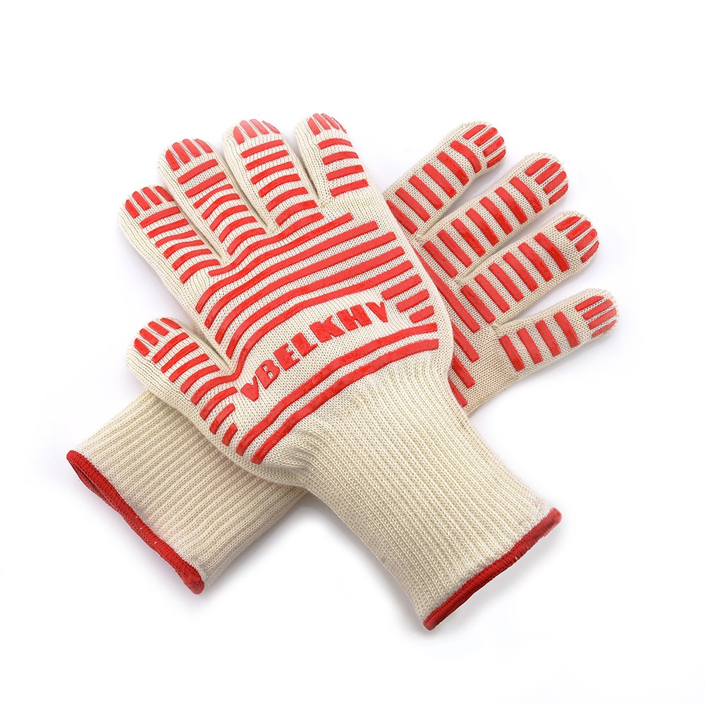 VBELKHV Premium Knitted Heat Resistant Gloves - Perfect Non-slip Kitchen Cooking Oven Mitts - Professional BBQ Grilling Potholder - 1 Pair (Cute White)