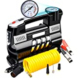 DC 12V 150 PSI Car Air Pump, Teetox Auto Tire Inflator Protable Dual-cylinder Air Compressor Pump with Battery Clamps and Extention Tube for Car, Truck, Bicycle, RV and Other Inflatables