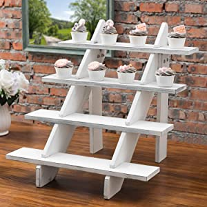 MyGift 4-Tier Cascading Vintage White Wood Retail Display Riser Stand