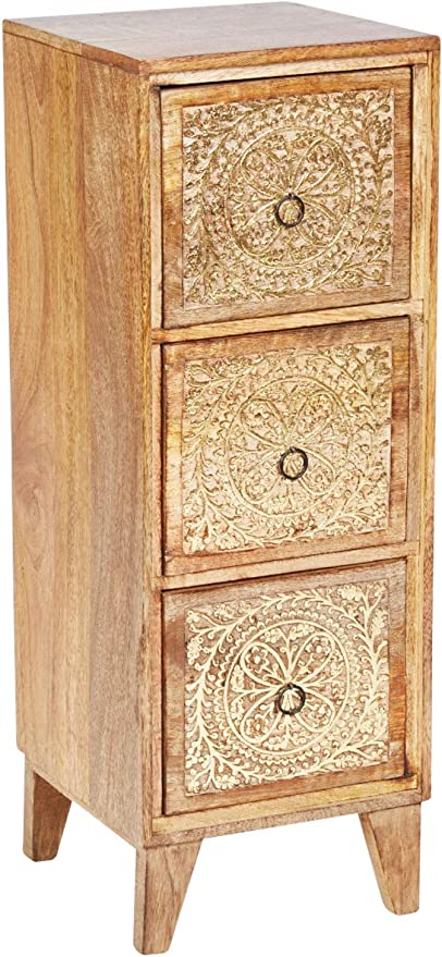 Marrakesch Enkidu - Mesita de noche de madera oriental para cama con somier, color marrón y dorado, 70 cm, estilo vintage, mesa auxiliar para ...