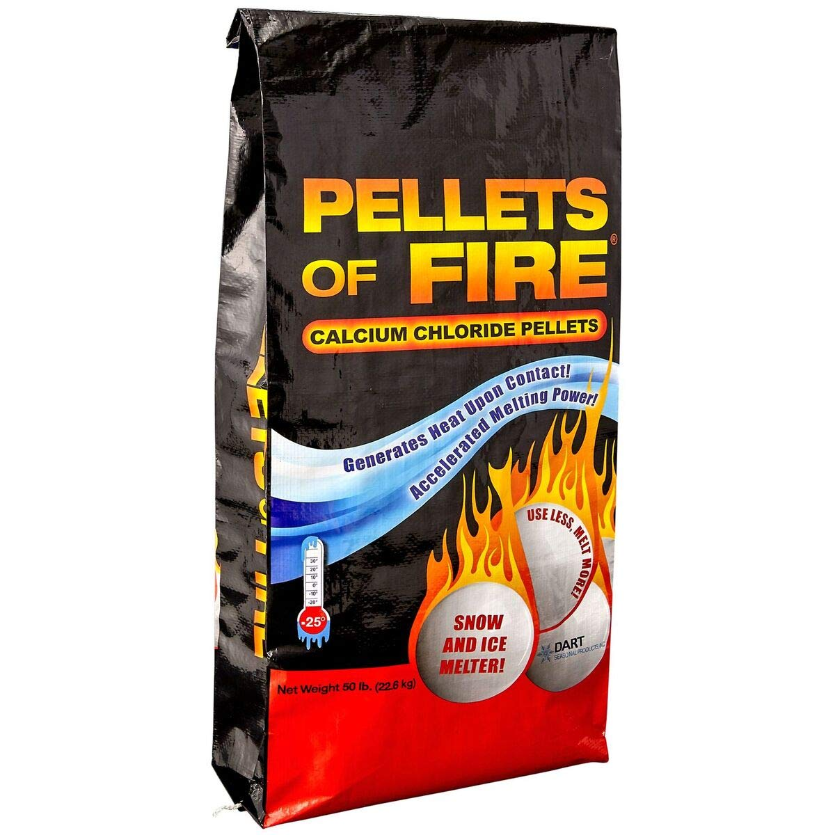 PELLETS OF FIRE Snow and Ice Melter - Calcium Chloride Pellets - Heat Generating Rock Salt - Concrete and Surface Safe - Industrial Grade - Home and Commercial Use - Works in -25° F (50lbs Bag) by PELLETS OF FIRE