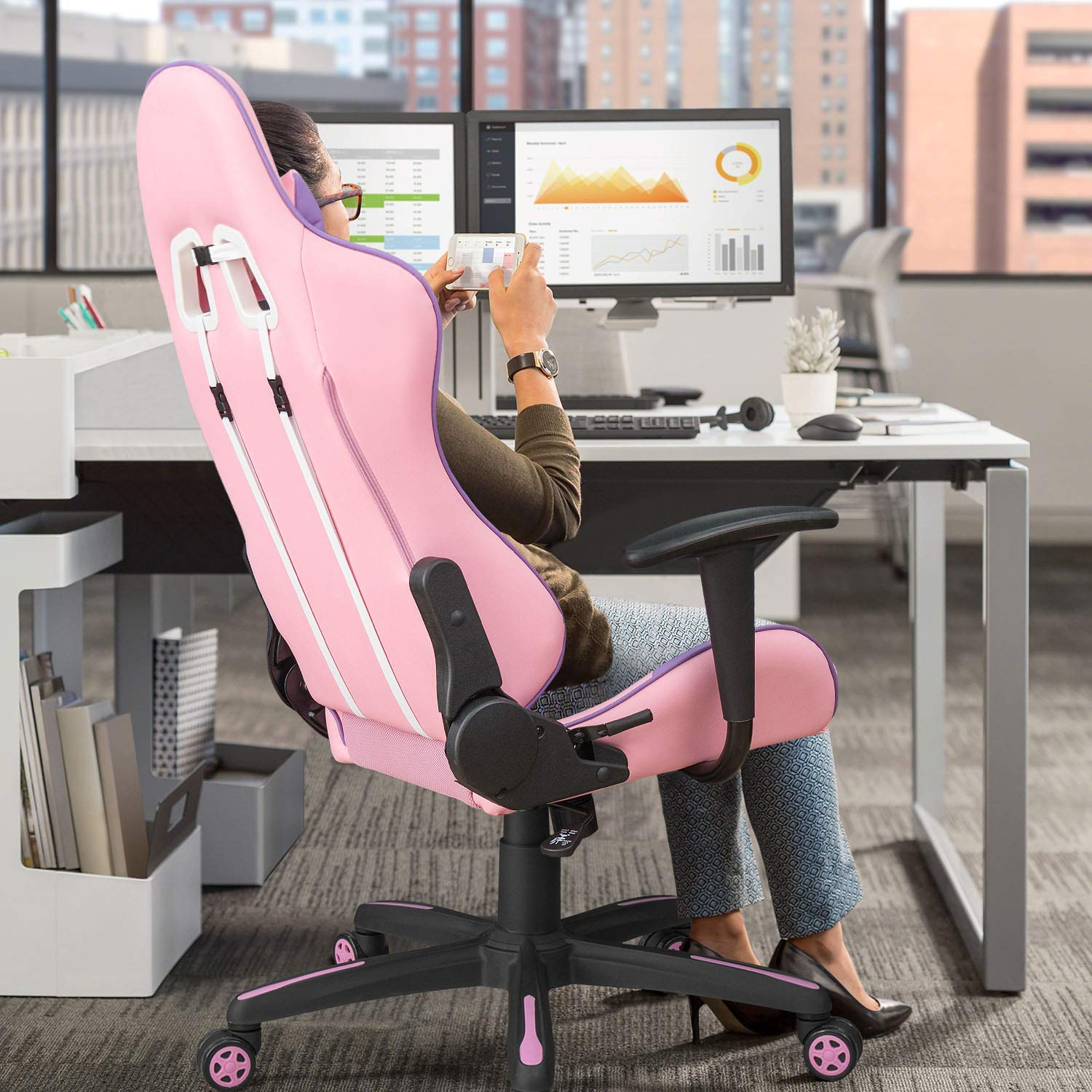 Leisure Sports Game Room Homall Gaming Chair Racing Office Chair High Back Computer Desk Chair Leather Executive Adjustable Swivel Chair With Headrest And Lumbar Support Pink Sports Outdoors Smkbinaputracihampelas Sch Id