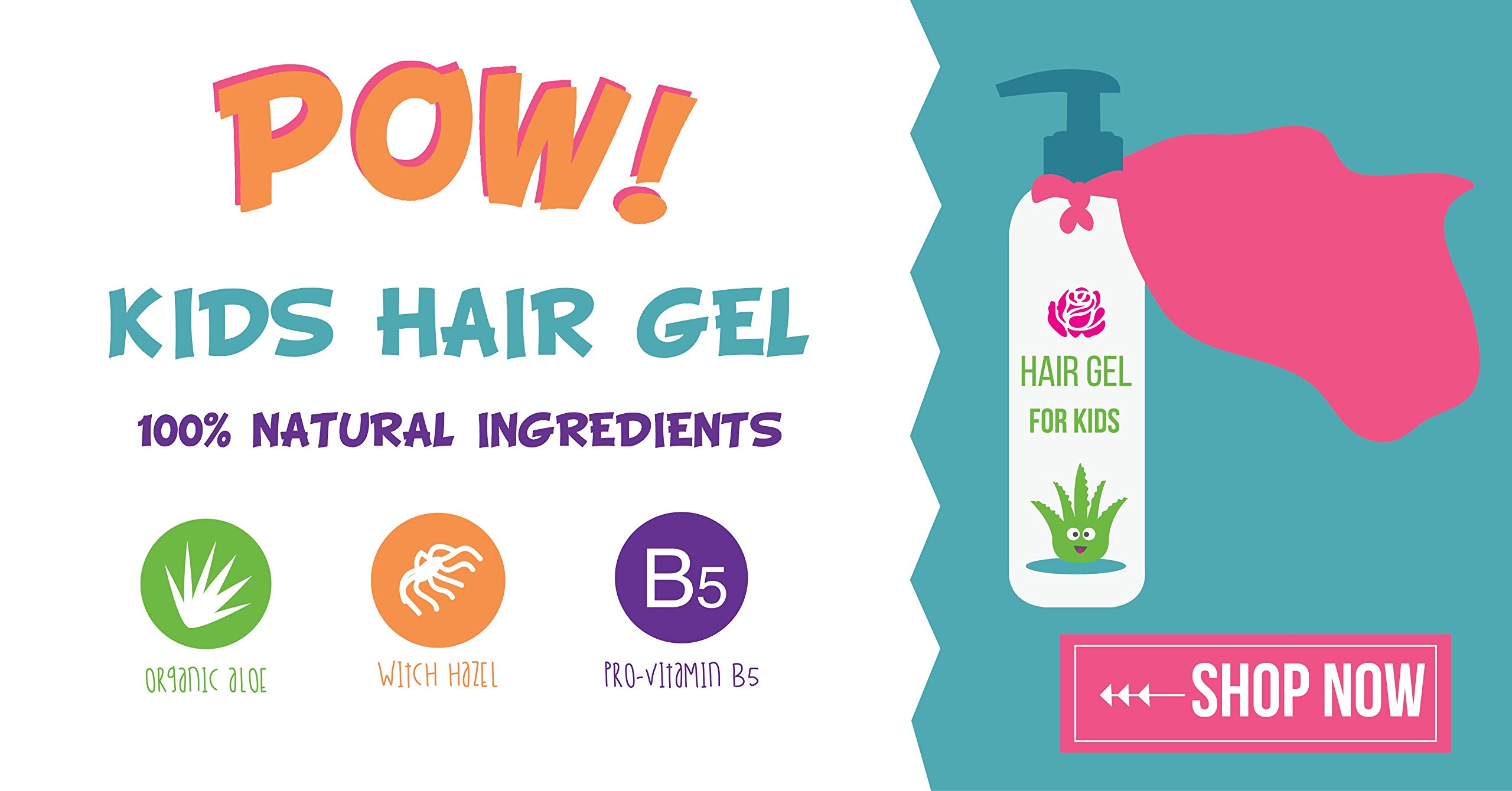 Hair Gel for Kids   Light Hold   Chemical Free   Made with Organic Aloe Vera and Vitamins   Safe on Babies, Toddlers, Men and Women   Always Paraben, Sulfate & Fragrance Free   Made in USA (1 Unit) by Little Roseberry (Image #6)