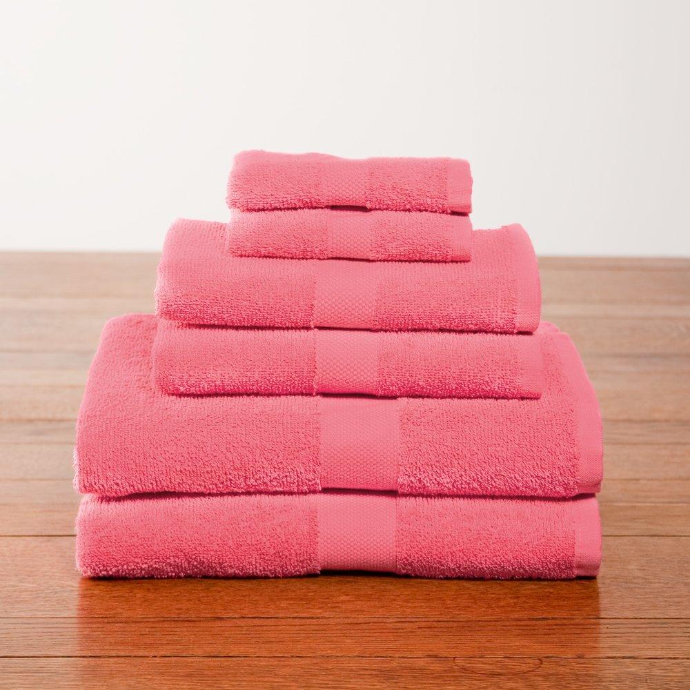 6 Piece Deep Pink Color Towel Set College Dorm Bath Set