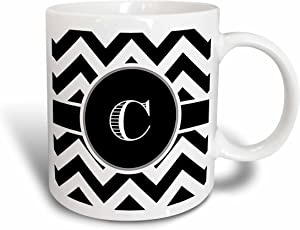 3dRose Chevron Monogram Initial C Mug, 11 oz, Black/White/Blue