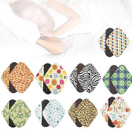 9PCS toallas sanitarias compresa menstrual reutilizable lavable Capa para evitar fugas, olores y manchas para