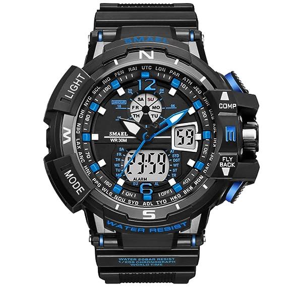 amstt Reloj Reloj Deportivo Exterior Relojes Resistente al agua Digital Reloj digital y analógico chronographen Watches
