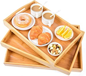 Bamboo 3 Pack Serving Tray Kitchen Food Tray with Handles Serving Platters Tray Great for Dinners Party,Tea Bar, Table Breakfast Snack