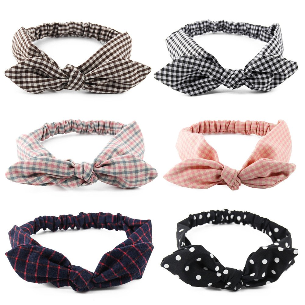Yeshan Women and Girls Elastic Solid Bunny Ears Headband/Bandana/Turban/Headwrap Yoga Sports Bow Hairband,pack of 6
