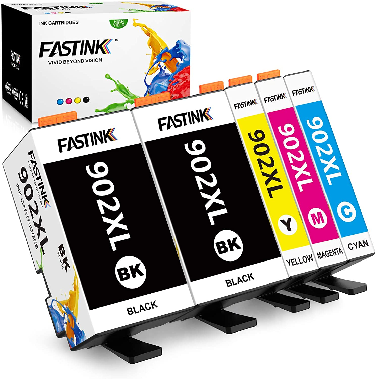 FASTINK Compatible HP Ink Cartridges (Newest Chip) Replacement for HP 902 XL 902XL for HP OfficeJet Pro 6954 6960 6962 6968 6978 Printer,5-Pack, (2 Black, 1 Cyan, 1 megenta, 1 Yellow)