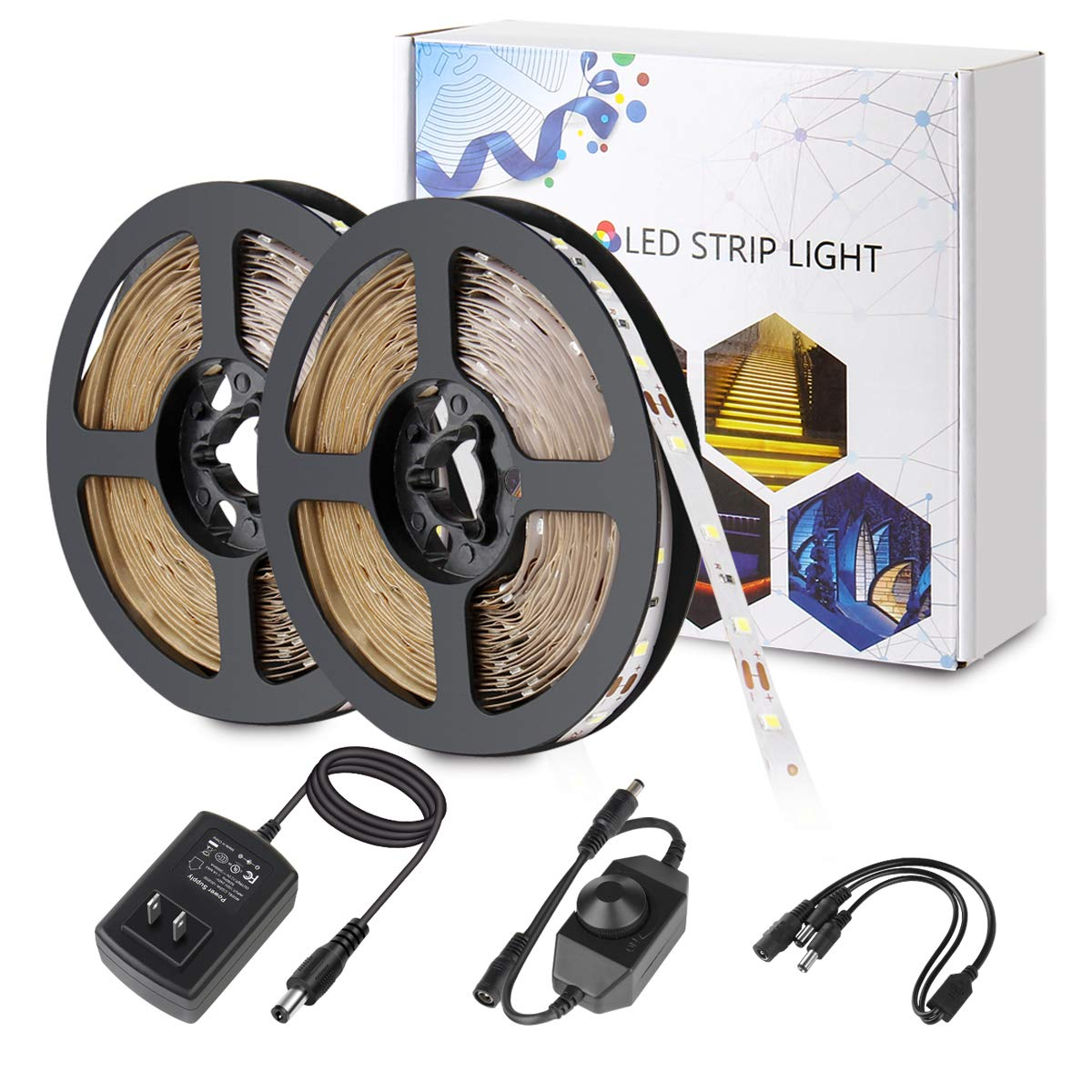 BINZET LED Strip Light - 32.8ft Daylight White Dimmable Flexible SMD2835 600LEDs 6500K Self-Adhesive LED Light Strip Full Set With DC12V 3A UL-Listed Power Supply And Dimmer