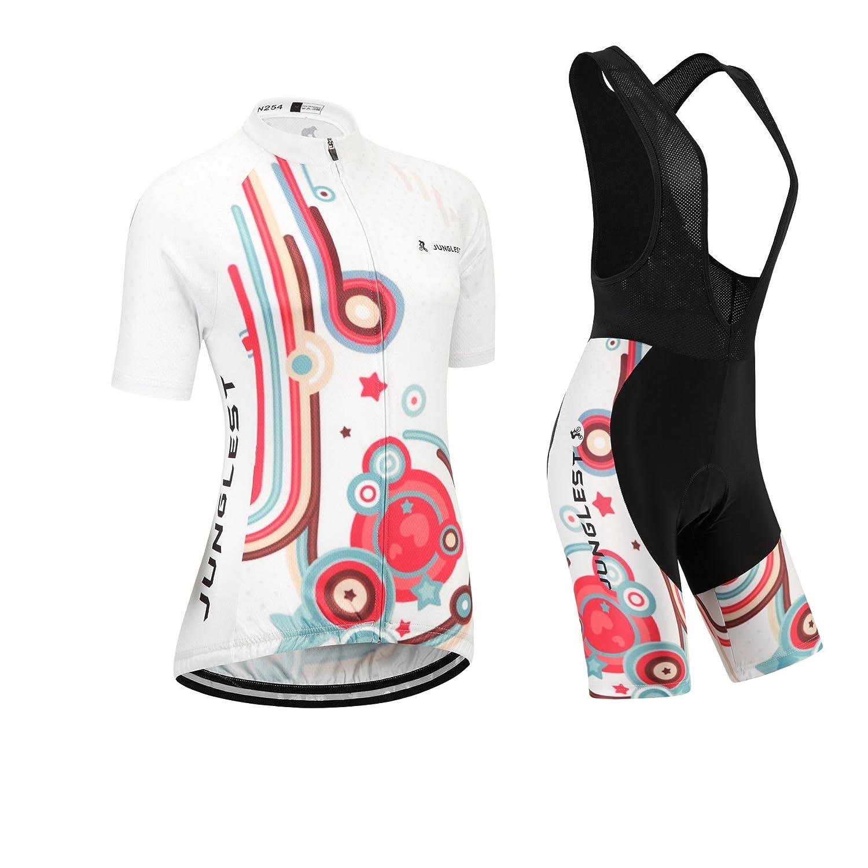 Cycling Jersey Setレディース半袖( S ~ 5 X L、オプション:よだれかけ、3dパッド) n254 (General pad)(Bust 43-45inchs) 種類: セット(ブラック前掛け) B01BX3F7SC