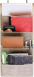 Elegant Wonders 4 Pocket Fabric Wall File Organizer - Home File Holder, Office Hanging File Folder Organizer, Over The Door Hanging Folder Organizer by EW. [Beige]
