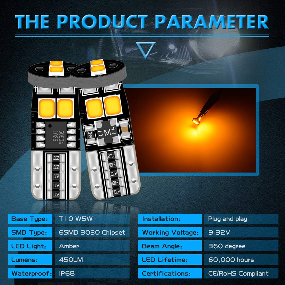 Pack of 2 KaTur Extremely Bright 450 Lumens T10 CanBus Error Free LED Light Bulbs 3030 Chipset 194 168 175 2825 Car Interior Dome Map Side Marker Courtesy License Plate Lights 6000K Xenon White 12V