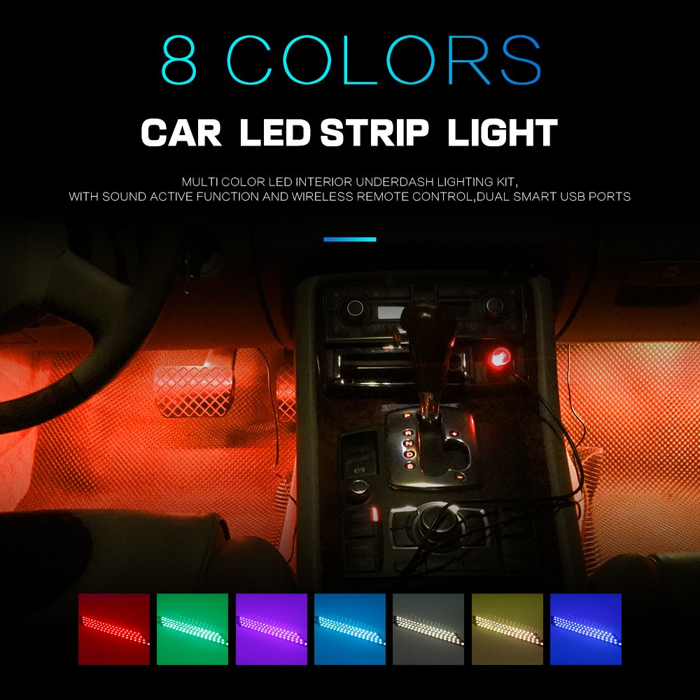 48 LEDs Car LED Strip Light,WEISIJI 48Leds DC 12V 4Pcs LED Underdash Lighting Kits Car Interior Music Light with Sound Active Function and Wireless Remote Control,Car Charger Included