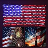 YULIANG Led Flag Net Light of The United States 6.5ft×3.28ft, Waterproof American Flag Light for Independence Day,Memorial Day, Festival, Garden,Indoor and Outdoor