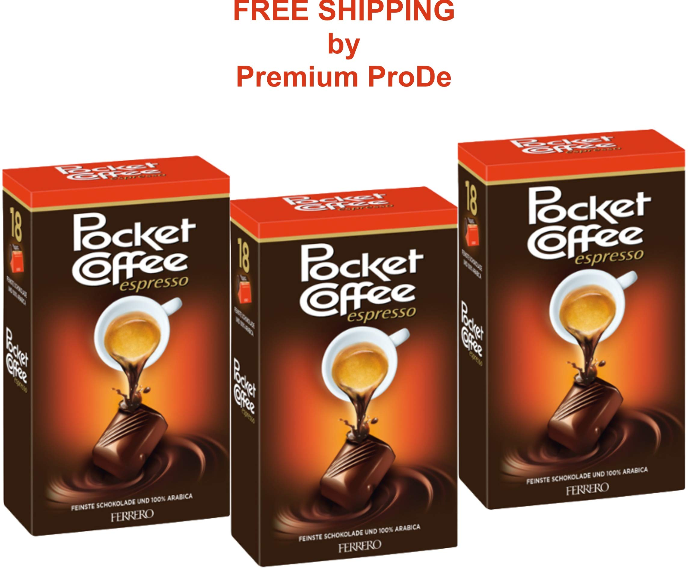 3x225g FERRERO POCKET COFFEE with a real, liquid, Italian espresso wrapped in crisp, fine chocolate by Ferrero Pocket Coffee