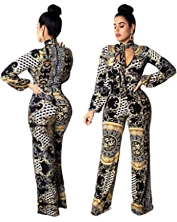 68247151830 Gamery Women Casual African Jumpsuits - with Long Sleeve Wide Leg Pants