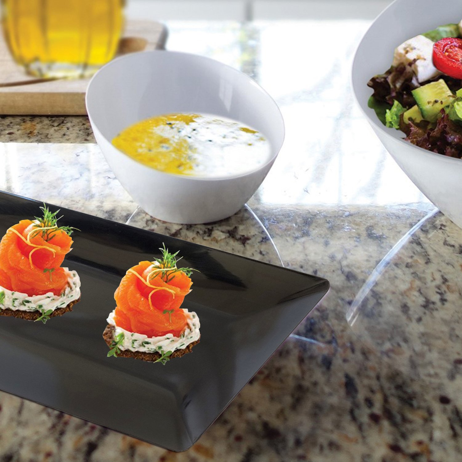 Pack of 2 Party Essentials White Hard Plastic Sleek Appetizer//Serving Trays 15.75 x 6