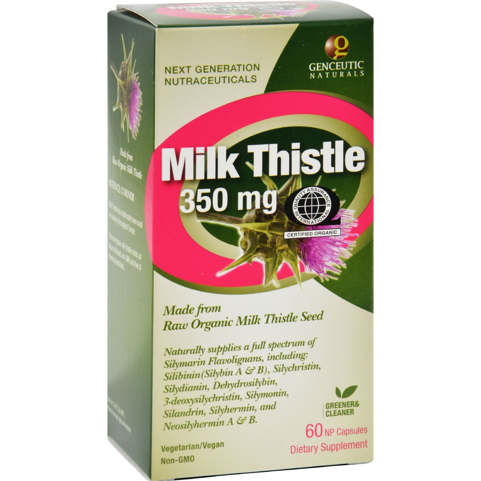 Genceutic Naturals Organic Milk Thistle - 350 mg - 60 Capsules (Pack of 4)