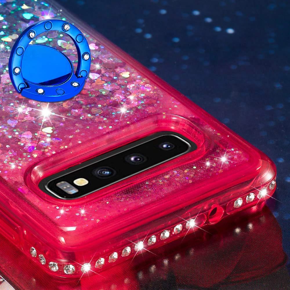 Dclbo H/ülle f/ür Samsung Galaxy S10,Handyh/ülle Glitzer Bling Fl/üssig Schutzh/ülle Weich Silikon TPU Case H/ülle Diamant Cover mit Ring Halterung Standfunktion f/ür Samsung Galaxy S10-Schwarz Rot