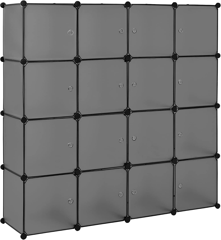 Neu.Haus] Estantería Modular DIY con 16 Compartimentos Gris/Transparente (144x144cm) Armario ensamblable de plástico: Amazon.es: Juguetes y juegos