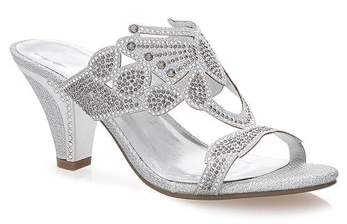 7eb737d44 OLIVIA K Women s Block Low Mid Heel Open Toe Sparkling Glitter Rhinestone  Dress Sandal Slides Slipper