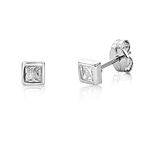 b5c4f3626675e Miore Earrings Women White Gold studs Solitaire Brilliant Cut Zirconia 9 Kt  / 375