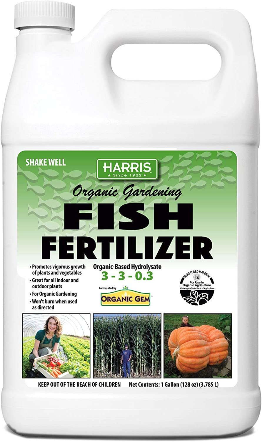 Harris Organic Plant Food and Plant Fertilizer, Hydrolyzed Liquid Fish Fertilizer Emulsion Great for Tomatoes and Vegetables, 3-3-0.3, 32oz (128oz (Gallon))