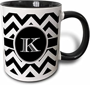 3dRose Black And White Chevron Monogram Initial K Mug, 11 oz
