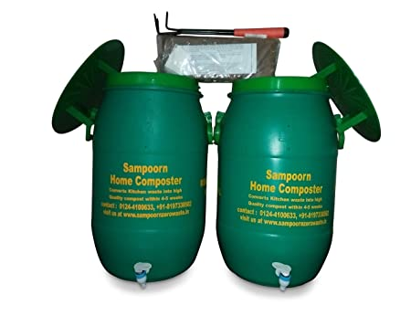 Sampoorn Home Composter Aerobic Composting Kit for 3 to 6 Family Members(Two 35 L Compost Bins with Accessories)